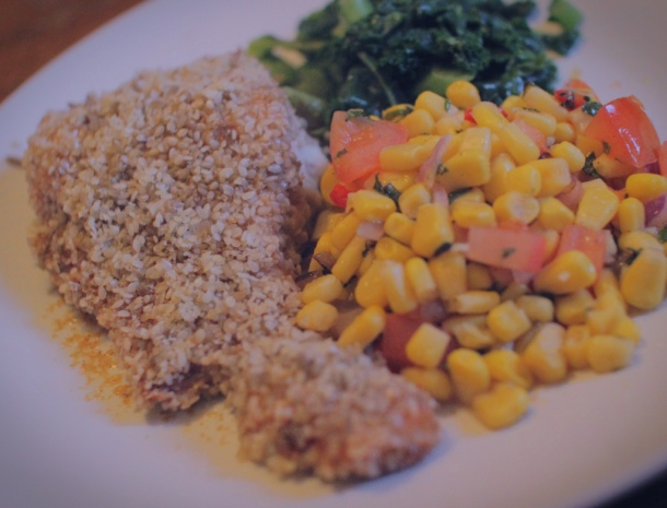 seeded salmon sweetcorn salsa