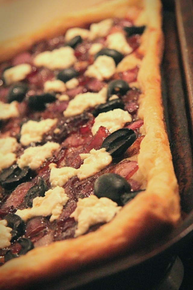 red onion feta olive tart