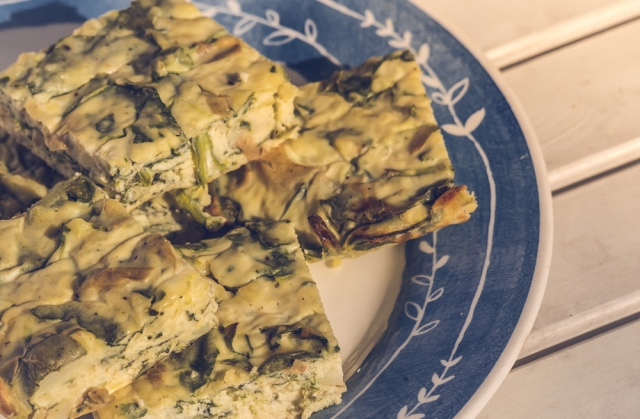 potato, spinach and spring onion crustless quiche
